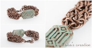 Chain Mail Bracelet with Dwarf Ornament Element by Taisa-Winged
