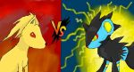 ninetailes vs luxray by cheshire-cat123