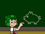 Chavo after drawing a pig at board by SuperMarcosLucky96