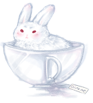 Tea cups and the White rabbit by carcarchu