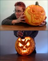 2nd Ever Attempt At Carving A Jack O' Lantern by LaVieDeWolfie