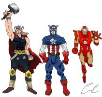 My Avengers - Thor, Captain America and Iron Man by LavenderRanger