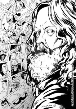 Alan Moore (Black and White) by romanlopezcomic