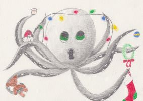 Octopus is very confused by christmas by Tesa-studio