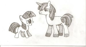 Twilight Sparkle and Shining Armor Drawing by Psybreon