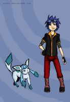 Zackary Trainer with Glaceon by Satha