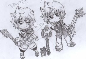 chibi roxas and ventus by oce-sky62