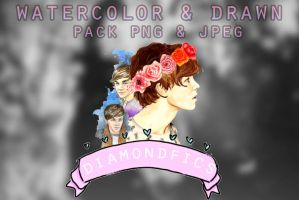 WATERCOLOR AND DRAWN (PNG'S PACK) by diamondfics