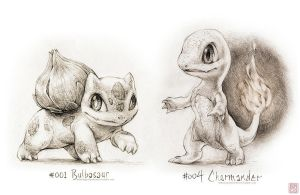 #001 - Bulbasaur and #004 - Charmander by drawingsofpokemon