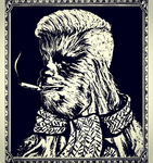 Chewbacca stencil / Chewie Hipster by Wator