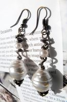 Copper and Pearls Earrings by Feeriee13