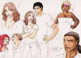 Colored sketches Janet Evanovich by VictoriaMelissa
