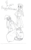 Halloween 2k11  - Witch Girls and Pumpkin by stopthattimerave