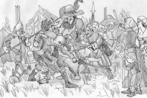 Soldiers' Brawl, Low Countries, Winter 1622-23 by FritzVicari