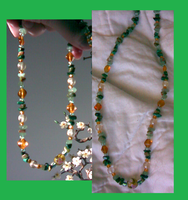 Green and Gold Stoney Necklace by twig7998