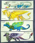 Flight Rising Dragon Bookmarks - Commission by ArtByCosette