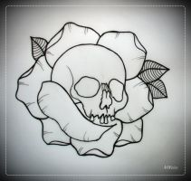 SKULL IN ROSE tattoo flash OUTLINE by oldSkullLovebyMW
