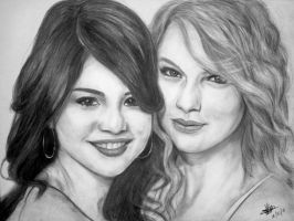 selena gomez and taylor swift by rayjaurigue