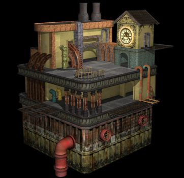 Steampunk Oil Rig 3D 3 by Dzemobeg