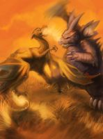 Nidoking Vs. Charizard by skulldog