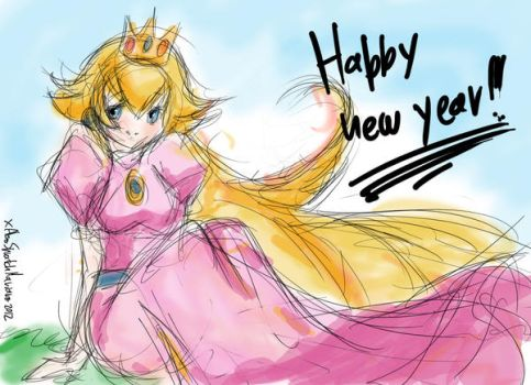Princess Peach wishes you a happy new year.Yeah. by AlsoSpratchMariano