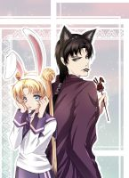 Bunny and Wolf by SnowLady7