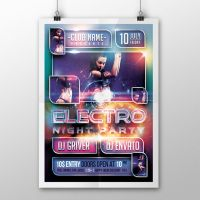 Electro Night Party Flyer/Poster PSD Template by ddblu