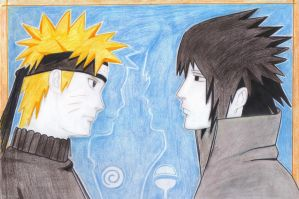 Naruto and Sasuke by vina11e