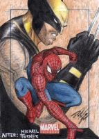 MU - Spider-Man-Wolverine Sketch Art Card by DenaeFrazierStudios