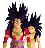 Broly SSJ4 and his Sista by NovaSayajinGoku