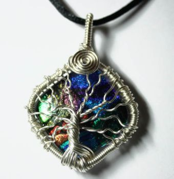 Wire Wrap Dichroic Glass Tree of Life Pendant by Create-A-Pendant