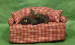 Needle felted Baby Dragon on the Sofa by Sofakitty