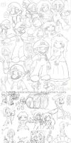 Random MarioLuigi Sketches by Miapon