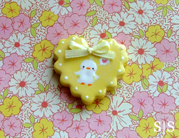 Yellow Chick Heart Charm by y2687
