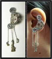 Steampunk Gibbous Moon ear cuff by Meowchee