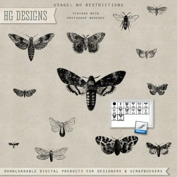 PS Brushes: Vintage Moths by HGGraphicDesigns