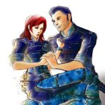 Kaidan Alenko and Jane Shepard by ladywinde