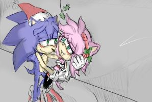 SonAmy Mistletoe .:Colored:. by AlmightyYing