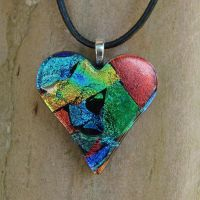Rainbow Heart Collage Glass by FusedElegance
