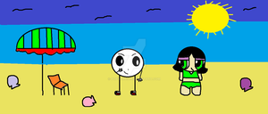 Buttercup and Mantut the beach by popcorn97