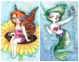 Chubby Fairy and Chubby Mermaid by LinaPrime
