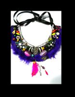 Purple feather  statement  necklace Cheshire Cat by AniDandelion