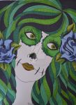 Shades of Green Sugar Skull Girl by ToniTiger415