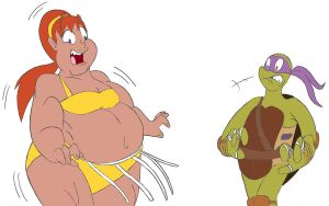April O'Neil Sumo Transformation 2/4 by CatsTuxedo