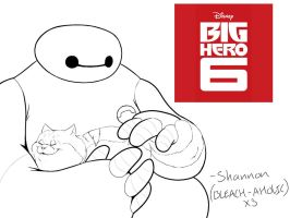 Big Hero 6 - Baymax n' Mochi [Lineart] by bleach-aholicX3