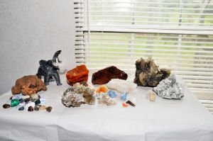 Ren Faire crystals, stones, and an elephant by lamorth-the-seeker