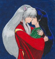 The Kiss - Inuyasha and Kagome by akatala