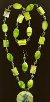 Lime Green Shell Necklace by BloodRed-Orchid