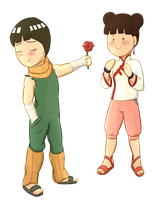 Ych: A Rose Just As Sweet Lee And Tenten by foxhat94