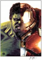 Hulk Ironman Half and Half with Digital Colours by ShayneMurphy